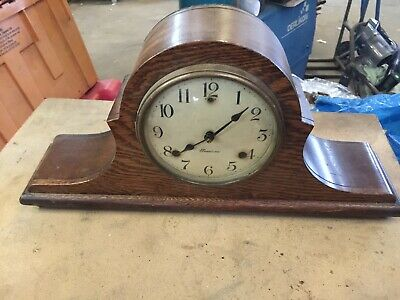 Unusual Vintage Antique Sessions 8 Day Mantle Clock Half Hour Gong