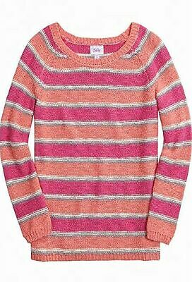 Justice Girls Coral Pink Striped Sophie Pullover Sweater Size 14 EUC