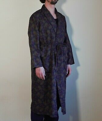 vintage st micheal 70's 80's 90's blue paisley faux silk dressing gown m&s
