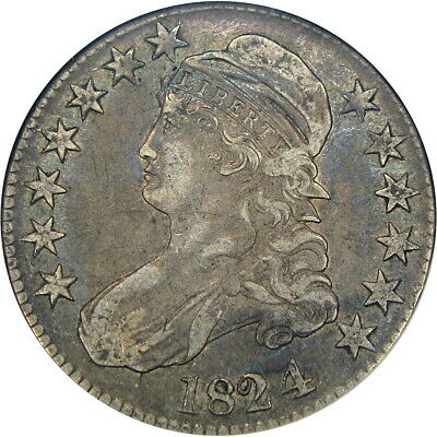 """1824/4 50C """"Old"""" Anacs Xf40 O-110 Capped Bust Half ~ Lovely Original Overdate!"""