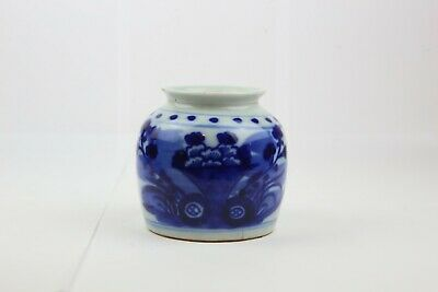 Antique Chinese Canton Porcelain Small Jar Blue and White Qing Dynasty清代小罐
