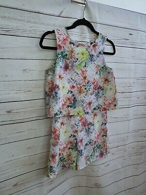 PETER MORRISSEY tween kids floral playsuit size 12 sleeveless layered #476