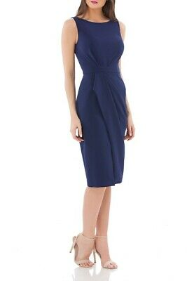 JS Collections Womens Pleated Crepe Cocktail Dress Size 2 Blue Sleeveless Lined