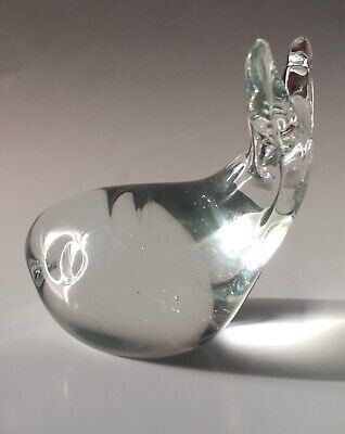 Vintage Art Glass Whale Figurine Paperweight Clear Glass 1960s Free Post