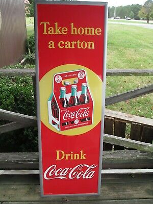 Coca-Cola  54 Inch Tall Red Steel Sign with 6 Pack Take Home a Carton