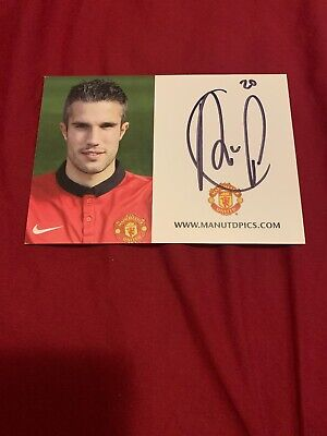 Manchester United Hand Signed Club Card Robin Van Persie