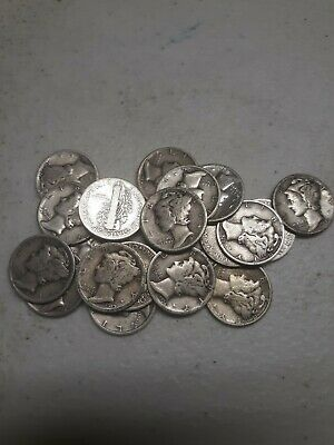 """1916-1945 """"One"""" 90% Silver Mercury Dime Coin Average Good from Mixed Lot"""