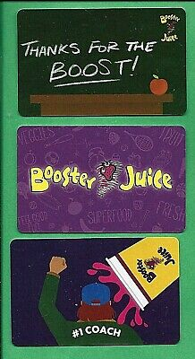 Three Booster Juice Canada  Gift Cards No  Value