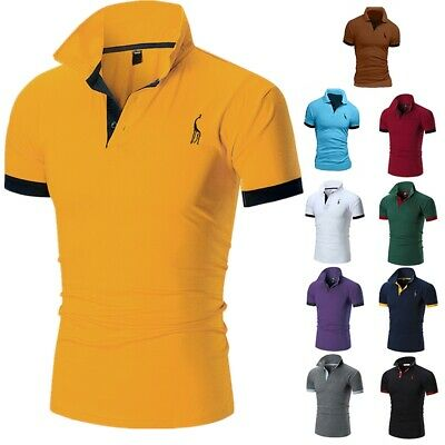 Men's Slim Fit Polo Shirts Short Sleeve Casual Golf T-Shirt Jersey Tops Tee AU