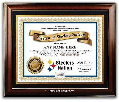 PITTSBURGH STEELERS NATION NFL Football Fan Certificate Diploma GREAT XMAS GIFT