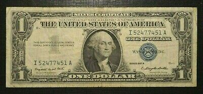 1957 A UNITED STATES Silver Certificate Blue Seal 1 Dollar  (282K)
