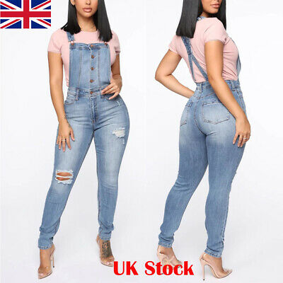 Womens Stretch Ripped Skinny Jeans Ladies High Waisted Suspenders Trousers Pants