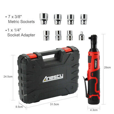 "Cordless Electric Ratchet Wrench 3/8"" 12V 45Nm Ratchet Kit w/ Battery & Charger"