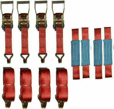 4 x 4mtr Red Recovery Strap Standard Handles Soft Ring Transporter Ratchet…