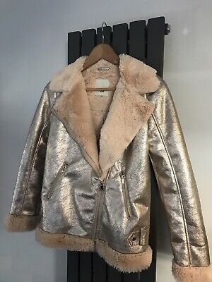 Girls River Island Shiny Faux Fur Lined Jacket Age 11 - 12 Yrs Worn Once