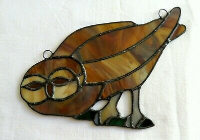 Owl Large Handmade Stained Glass Window Sun Catcher Decorative Leaded Nature art