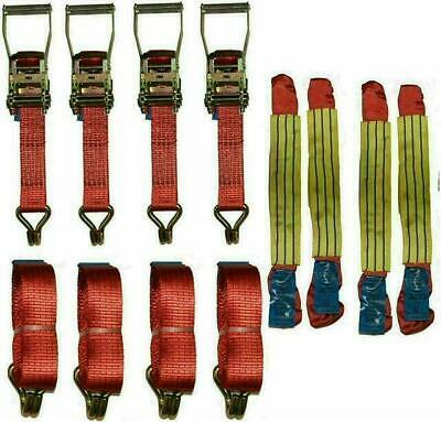 """4 x 4mtr Red Recovery Strap Standard Handles 18"""" Soft Ring Transporter Ratchet…"""
