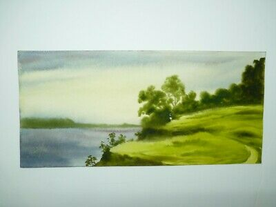 Vintage 1999 Signed Painting Rolling Green Meadows on Lake, B. Creef 16 x 34.5cm