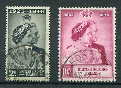 British Solomon Islands 1948 KGVI. Silver Wedding set of 2. Used. SG 75-76.