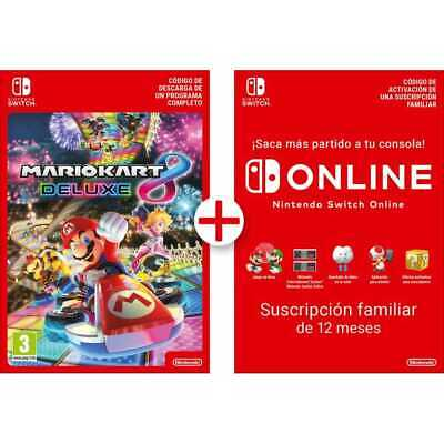 Mario Kart 8 Deluxe Descarga Digital + 12 Meses Familiar Nintendo Switch Online