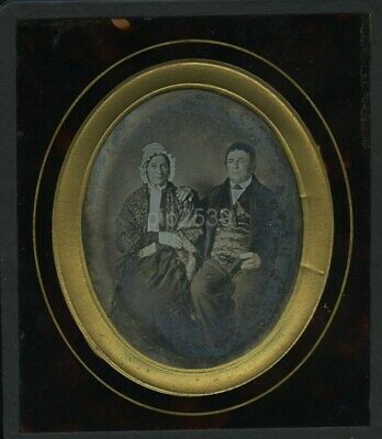 Oval Daguerreotype Of Middle Age Man & Woman c1850s