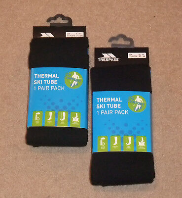 NEW 2 PAIRS TRESPASS GENTS THERMAL SKI TUBE SOCKS UK 4 -11 Navy Blue