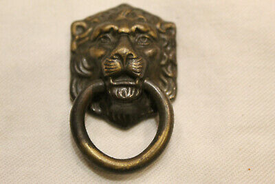 Vintage Small Brass Lion Head Pull with Ring