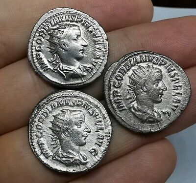 Ancient Roman Imperial Gordian III Silver Antoninianus Coins LOT - 3 ps XF/gXF