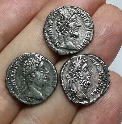 SCARCE Ancient Roman Imperial Commodus 180-192 AD Silver Denarius LOT - 3 ps XF
