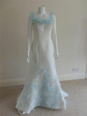 Designer Wedding Dress Ivory Fishtail Gown Blue Feathers Chiffon Size12