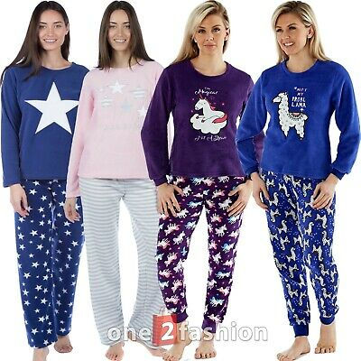Ladies Soft Fleece Pyjamas Set Pjs Night Lounge Womens Wear Lingerie