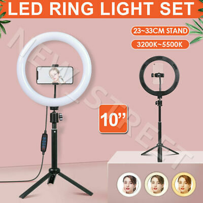 "10"" Dimmable LED Ring Light with Tripod Stand Selfie Make Up Lamp Video Lighting"