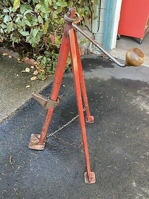 Vintage Tripod Bumper Jack Hand Crank Chain Car Truck Automotive Rustic Antique