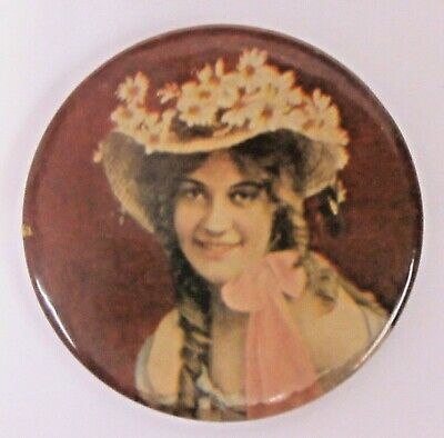 1890's PRETTY LADY wearing fancy hat non-advertising celluloid pocket mirror ^