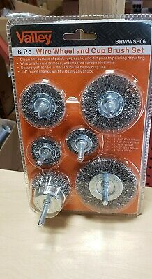 "6pc Wire Brush Set 1/4"" Shank Power Drill Wheel Cup Deburr Crimped Remove Paint"