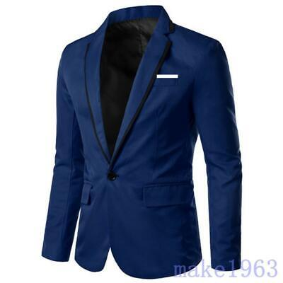 Mens Leisure Solid Business Suit Jacket Wedding Party Outwear Thin Slim Coat