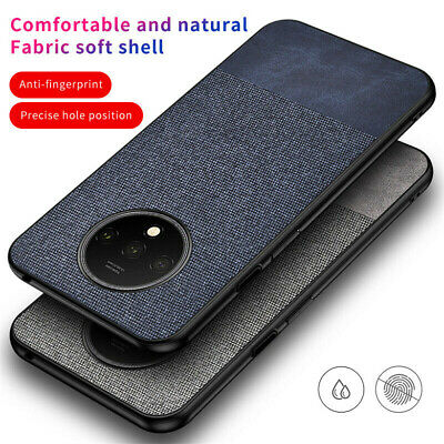 For OnePlus 7T 7 Pro Shockproof Hybrid Cloth Fabric+ Soft TPU Slim Case Cover