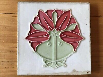 Antique English Arts And Crafts Art Nouveau Majolica Tile Sherwins NR A.
