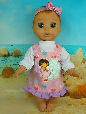 """Dolls clothes for 18"""" LUVABELLA DOLL~DORA~COLOURFUL HEARTS PINAFORE~TOP~H'BOW"""