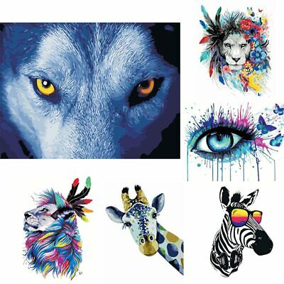 Frameless Abstract Colorful Animals DIY Painting By Numbers Hand Painted Oil AU