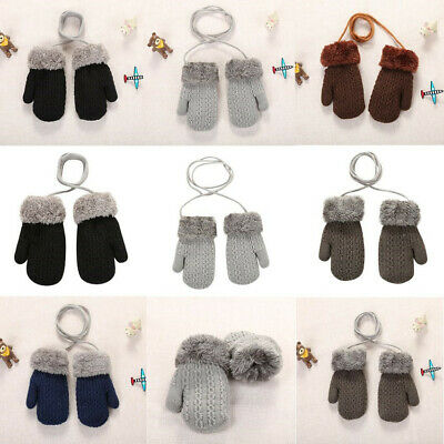Baby Kids Girls Boys Child Gloves Winter Warm Stretchy Knit Neck String Mittens