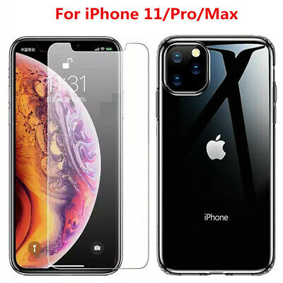 For iPhone 11 Pro Max Clear Case Shockproof Bumper Slim Soft Silicone Cover Film