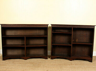 Pair Antique Bookcases Bookshelves Cabinet Arts & Crafts 19th Century Mahogany