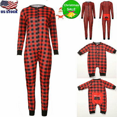 Family Matching Christmas Pajamas Plaid Printed Long Sleeve Jumpsuit Sleepwear