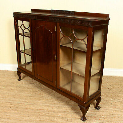 Antique Mahogany Bookcase Triple Library Glazed Display Astragal Victorian