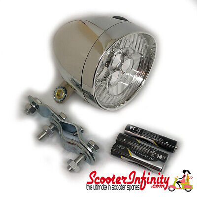 Spotlight / Spotlamp Chrome Mod Style LED Batterys included (Vespa / Lambretta)