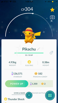 Pokemon Go Shiny One Piece Pikachu REGISTERED TRADE
