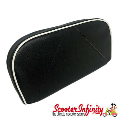 Backrest Pad (Black, White Piping) (Vespa / Lambretta)