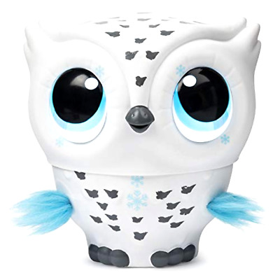 Owleez, Flying Baby Owl Interactive Toy with Lights & Sounds (White), for Kids