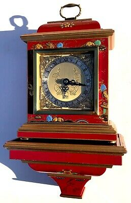 Stunning Red Laquered Chinoiserie Elliott Of London Clock And Bracket Japanned